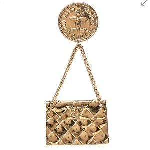CHANEL Gold Flap Bag Brooche